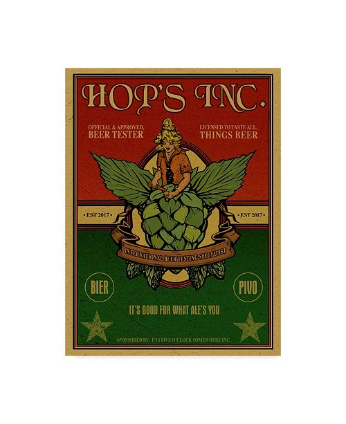 """Trademark Innovations Old Red Truck 'Hops Inc' Canvas Art - 32"""" x 24"""" x 2"""""""
