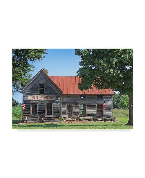 "Trademark Global Jean Plout 'God Bless America Farm House' Canvas Art - 24"" x 16"" x 2"""