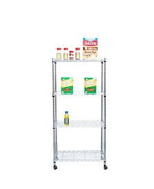 Mind Reader 4 Tier Adjustable Heavy Duty Metal Storage Rack Shelving Unit with Wheels