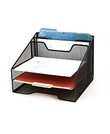 Mind Reader Mesh Desk Organizer 5 Trays Desktop Document Letter Tray for Folders, Mail, Stationary, Desk Accessories