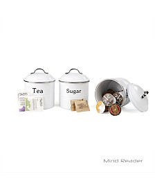 Mind Reader 3 Piece Coffee, Sugar,Tea Metal Canister Set