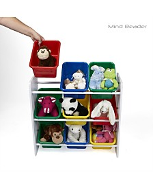 Mind Reader Toy Storage Organizer with 9 Storage Bins, Kids Storage for Bedroom