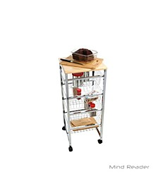 4 Tier Wire Basket Cart with Wood Surface