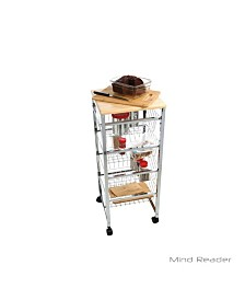 Mind Reader 4 Tier Wire Basket Cart with Wood Surface