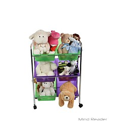 Mind Reader Toy Storage Organizer with 6 Storage Bins, Kids Storage for Bedroom
