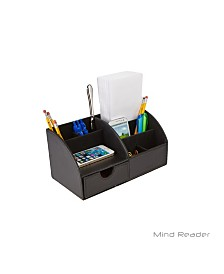 Mind Reader Faux Leather 6 Compartment Desk Organizer Desk Supply Holder