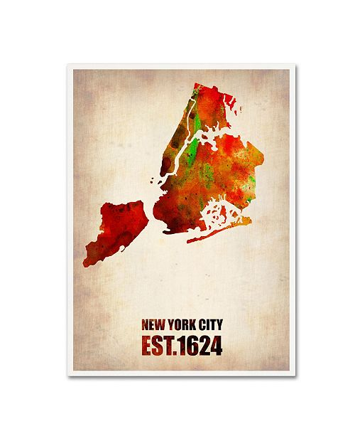 "Trademark Global Naxart 'New York City Watercolor Map 2' Canvas Art - 19"" x 14"" x 2"""