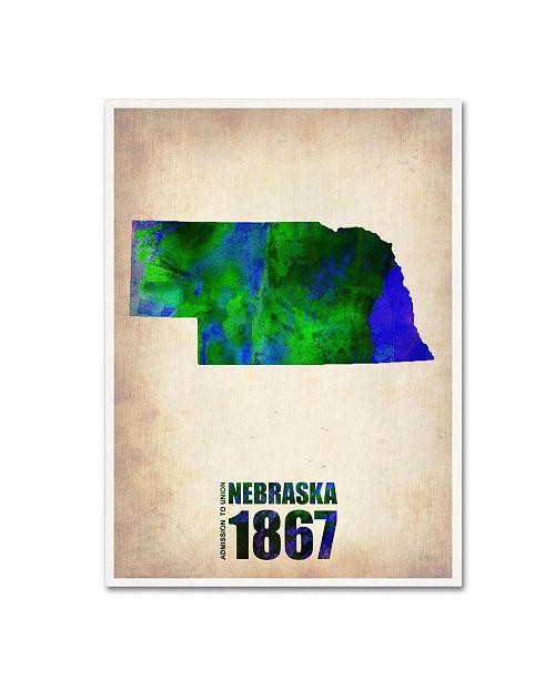 "Trademark Global Naxart 'Nebraska Watercolor Map' Canvas Art - 24"" x 32"" x 2"""