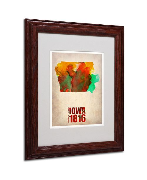 "Trademark Global Naxart 'Iowa Watercolor Map' Matted Framed Art - 11"" x 14"" x 0.5"""