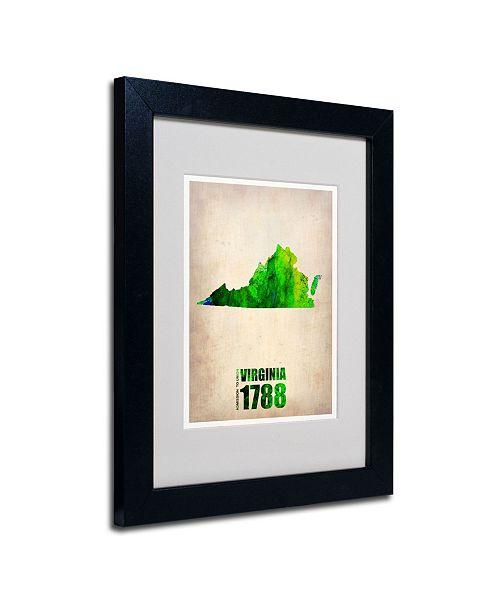 """Trademark Global Naxart 'Virginia Watercolor Map' Matted Framed Art - 14"""" x 11"""" x 0.5"""""""