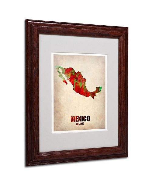 "Trademark Global Naxart 'Mexico Watercolor Map' Matted Framed Art - 11"" x 14"" x 0.5"""
