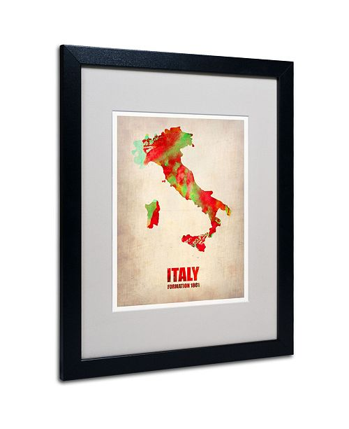 """Trademark Global Naxart 'Italy Watercolor Map' Matted Framed Art - 20"""" x 16"""" x 0.5"""""""