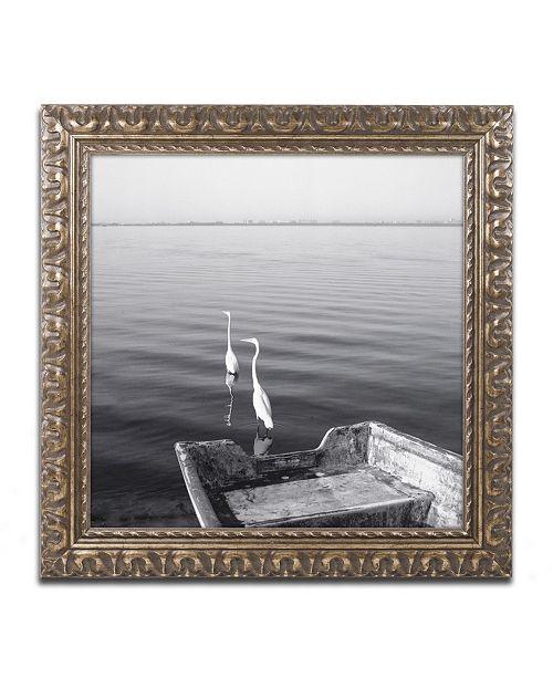 """Trademark Global Moises Levy '2 Herons Leaving' Ornate Framed Art - 16"""" x 16"""" x 0.5"""""""