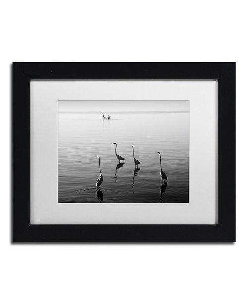 "Trademark Global Moises Levy '4 Herons and Boat' Matted Framed Art - 11"" x 14"" x 0.5"""