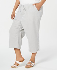 Karen Scott Plus Size Cotton Seersucker Capri Pants, Created for Macy's