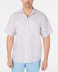 Men's Lei Como Check Geo-Print Linen Camp Shirt