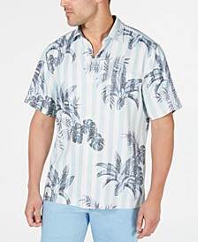 Men's Poolside Palms Stripe Tropical-Print Silk Camp Shirt