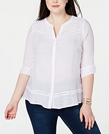 Plus Size Lace-Trim Button-Up Blouse