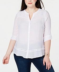 Plus Size Lace-Trim Button-Up Blouse