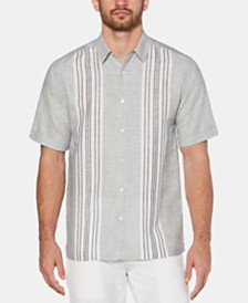 Cubavera Men's Stripe Panel Linen Shirt