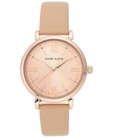 Anne Klein Women's Blush Leather Strap Watch 36mm
