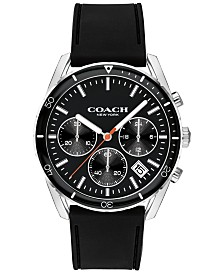 COACH Men's Chronograph Thompson Sport Black Rubber Strap Watch 41mm