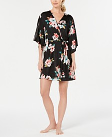 I.N.C. Floral-Print Lace-Trim Robe, Created for Macy's