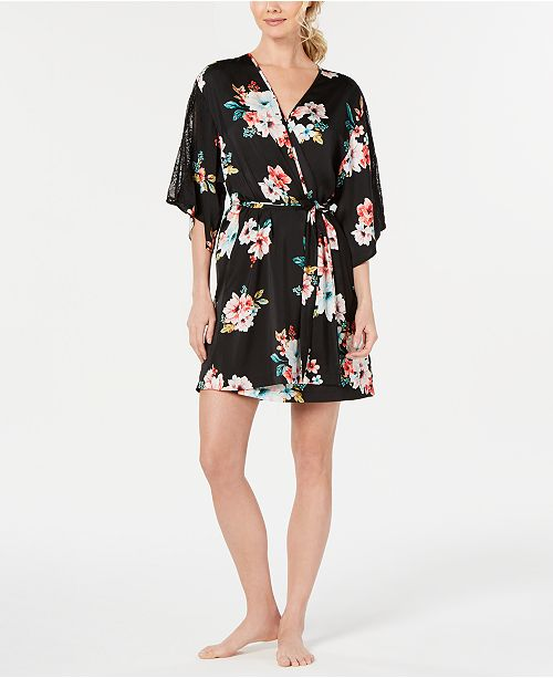 INC International Concepts INC Floral-Print Lace-Trim Robe, Created for Macy's