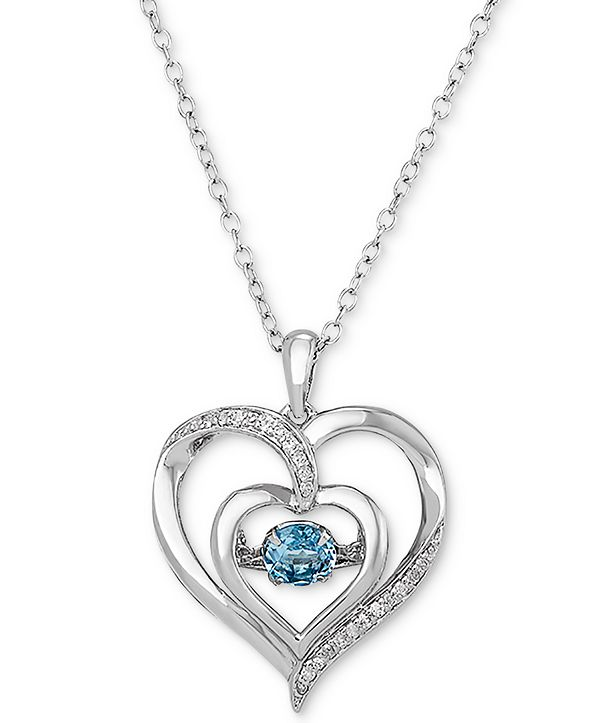 "Macy's Swiss Blue Topaz (1/2 ct. t.w.) & Diamond Accent Heart 18"" Pendant Necklace in Sterling Silver"