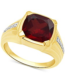 Men's Garnet (5-1/8 ct. t.w.) & Diamond (1/10 ct. t.w.) Ring in 18k Gold Over Sterling Silver