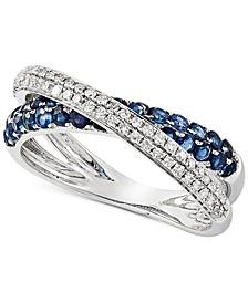 Sapphire (5/8 ct. t.w.) & Diamond (3/8 ct. t.w.) Crisscross Ring in 14k White Gold