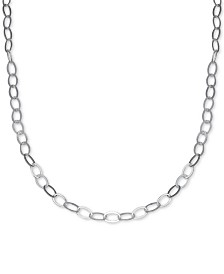 """Giani Bernini Flat Oval Link 20"""" Chain Necklace in Sterling Silver, Created for Macy's"""