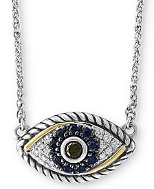 "EFFY® Sapphire (1/6 ct. t.w.) & Diamond (1/8 ct. t.w.) Evil Eye 18"" Pendant Necklace in Sterling Silver & 18k Gold-Plate"