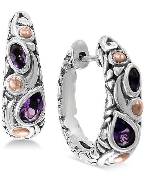 EFFY Collection EFFY® Amethyst Hoop Earrings (3/4 ct. t.w.) in Sterling Silver & 18k Rose Gold-Plate