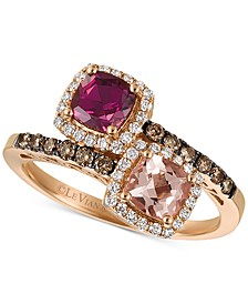 Multi-Gemstone (1 ct. t.w.) & Diamond (3/8 ct. t.w.) Ring in 14k Rose Gold