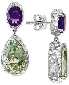 EFFY® Amethyst (2-1/5 ct. t.w.) & Green Quartz (9-1/2 ct. t.w.) Drop Earrings in Sterling Silver