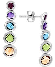 EFFY® Multi-Gemstone Graduated Drop Earrings (3-3/8 ct. t.w.) in Sterling Silver