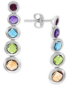 EFFY® Multi-Gemstone Graduated Drop Earrings (3-3/8 ct. t.w.) in Sterling Silver
