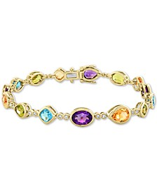 EFFY® Multi-Gemstone (12-1/3 ct. t.w.) & Diamond (1/5 ct. t.w.) Bracelet in 14k Gold