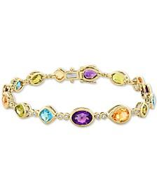 EFFY® Multi-Gemstone (12-1/3 ct. t.w.) & Diamond (1/5 ct. t.w.) Bracelet in 14k Gold