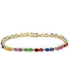 EFFY® Multi-Sapphire (8 ct. t.w. ) & Diamond (1/6 ct. t.w.) Tennis Bracelet in 14k Gold