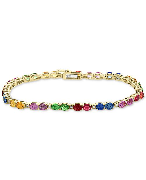 EFFY Collection EFFY® Multi-Sapphire (8 ct. t.w. ) & Diamond (1/6 ct. t.w.) Tennis Bracelet in 14k Gold