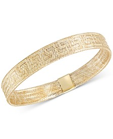 Greek Key Stretch Bangle Bracelet in 14k Gold