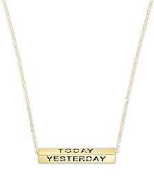 "Longevity Bar 18"" Pendant Necklace in 10k Gold"