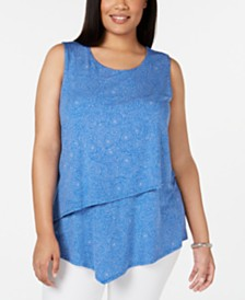 Alfani Plus Size Printed Asymmetrical-Overlay Top, Created for Macy's