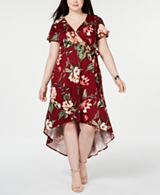 BCX Trendy Plus Size Printed High-Low Wrap Dress