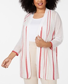 Alfani Plus Size Mix Stitch Cardigan, Created for Macy's