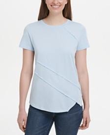 DKNY Stitched-Trim Asymmetrical-Hem Top