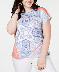 Plus Size Pier Patchwork Top, Created for Macy's
