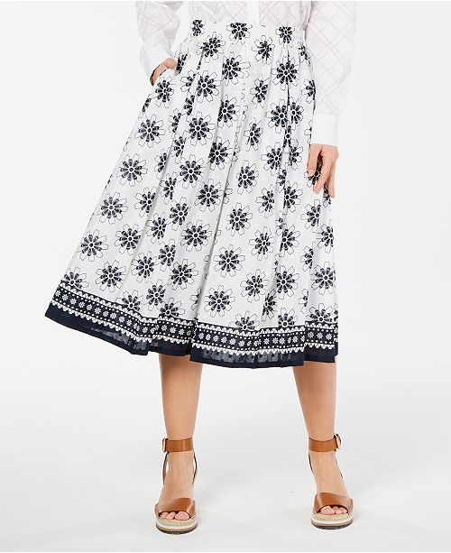 bc0d96024e ... Tommy Hilfiger Printed Pleated Cotton Skirt, Created for Macy's ...
